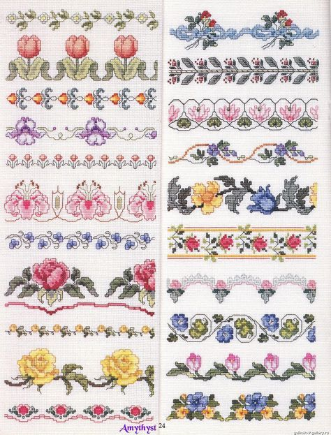 EMBROIDERY – CROSS-STITCH / BORDERIE / BORDUURWERK – FLOWER / FLEUR / BLOEM - cross stitch borders