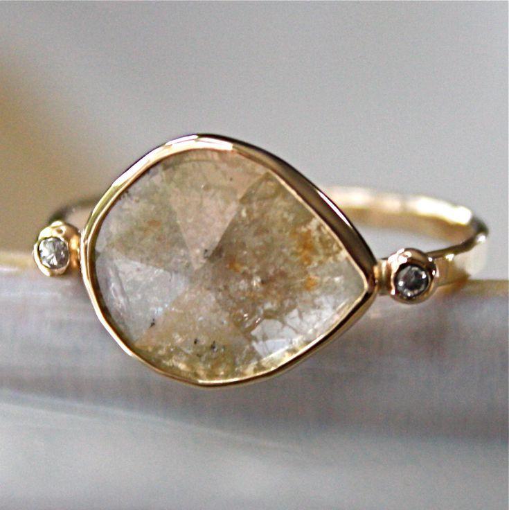 diamond ring rose cut diamond slice in 14k gold engagement ring - Free Wedding Rings