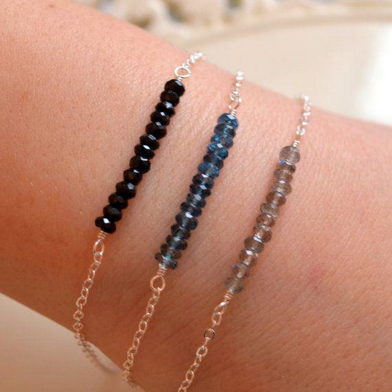 Empilage Set Bracelet argent, Labradorite, London bleu topaze, spinelle noir, pierre précieuse ligne, Sterling, bijoux délicat, livraison gratuite
