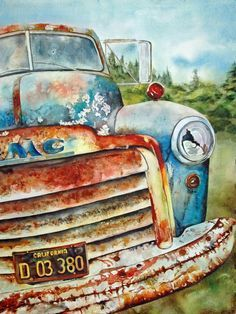I Love how she has painted this old rusted truck out of the rich creamy pigments of Watercolors. This Artist does Beautiful painting of watercolor,... old truck