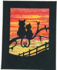 Evening Romance designed by Gail Penberthy - £6.00. Small wallhanging created with fused applique.  This is a small wallhanging that finished approx 11 1/2 inch x 14 1/2 inch (but you could easily change the size of the border).  You could also think about chaging the background fabric and put this loving pair anywhere in the world and at any time of the day or night!