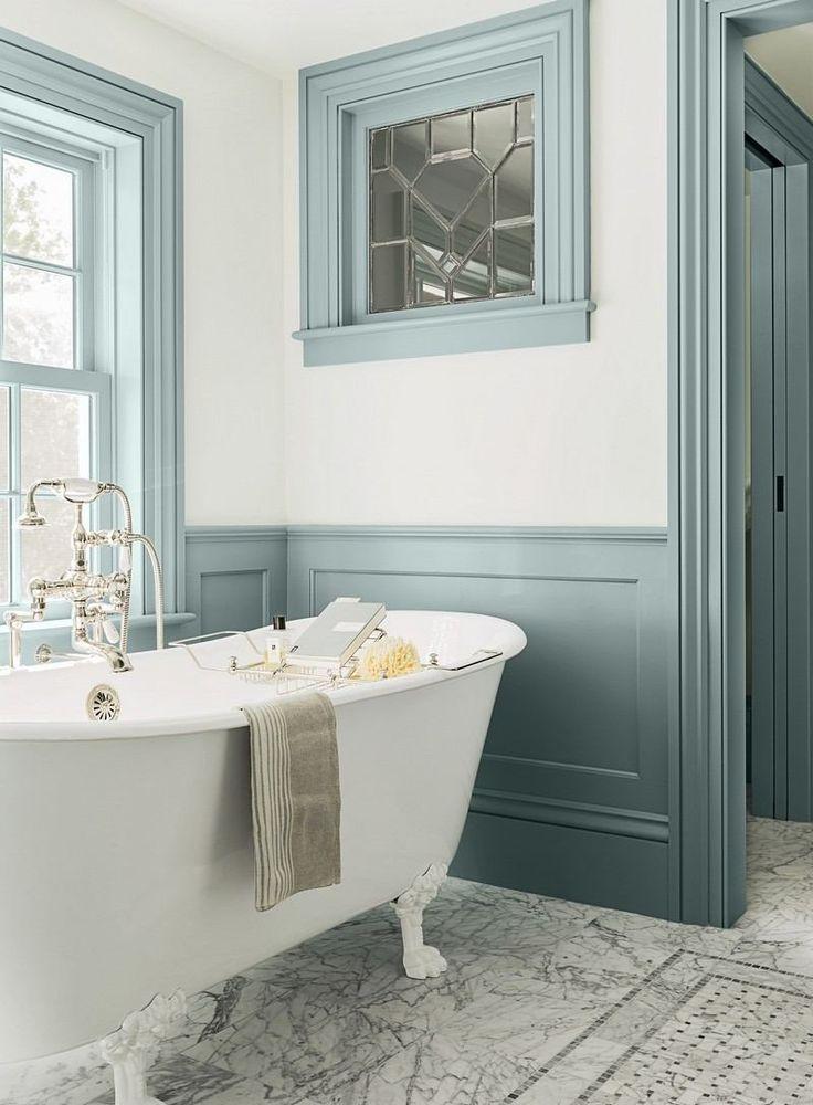 17 meilleures id es propos de salles de bains shabby chic sur pinterest rangement shabby for Peinture bois salle de bain