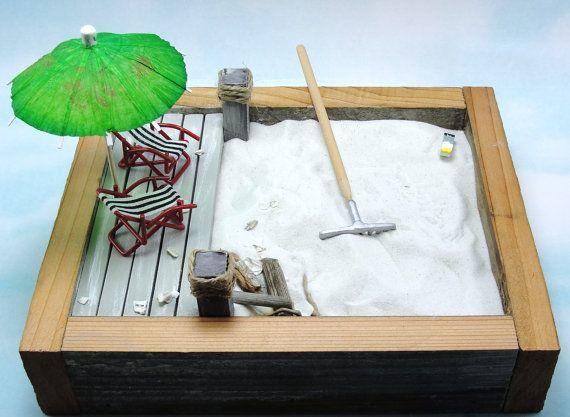 Beautiful Miniature Zen Beach Garden Kit Beach Lounge By EnchantingGardenArt