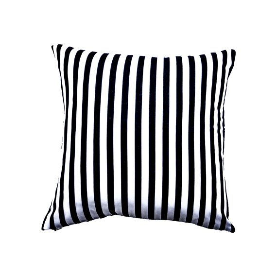 Black and White Stripe Cushion Cover  Black by MirraDesignStudio