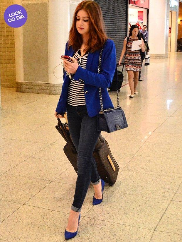 Blazer de corte mais social Blusa listrada Calça skinny jeans