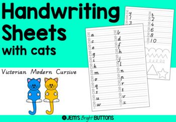 Handwriting sheets with cats
