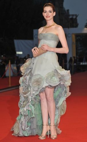 """mullet dresses--You read that straight--it's Anne Hathaway in a """"Mullet Dress"""", but you're still way cute, Anne."""