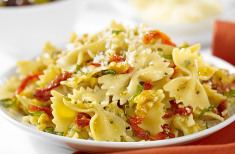 #Pasta #Italian #recipe  Farfalle with Sun Dried Tomatoes, Walnuts, Basil and Parmigiano Cheese