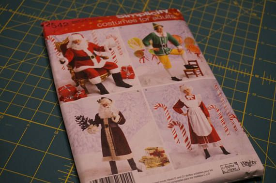 Publisher: Misses and Mens Christmas holiday costumes featuring Santa Claus, Mrs. Claus and Santas elves. Simplicity sewing pattern. Available as a printable pattern—for more information, see Printable Sewing Patterns.  Image shown is from the smaller pattern set. This listing is for size Large and Extra Large.  Retail: $16.95