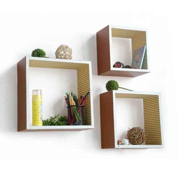 Square Leather Wall Shelver; Trista, Set of 3