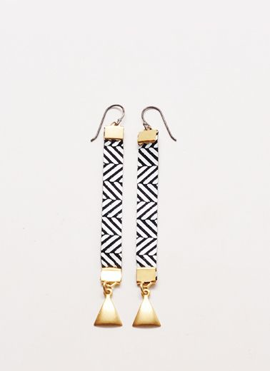 Gombey Leather Brass Earring Pair in Black White Railroad Handmade by Linwood