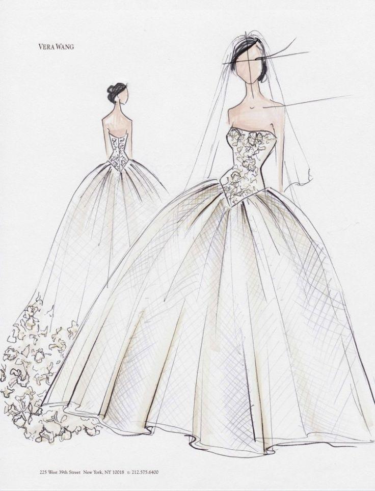 Trouwjurk schets van Kim Kardashian | Vera Wang | Hoe kun je zelf een trouwjurk maken