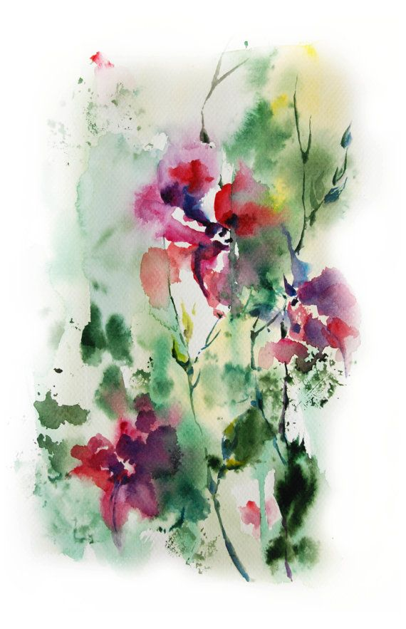 Abstract nature original watercolor painting pink floral for Abstract watercolour flowers