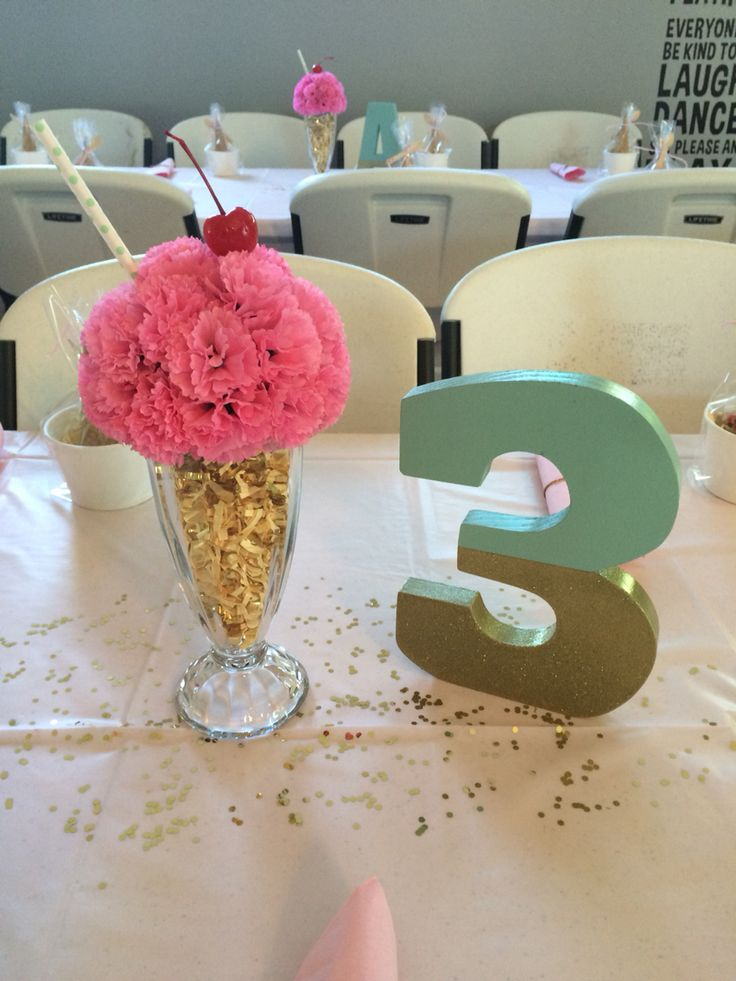 Birthday ice cream parlor centerpiece