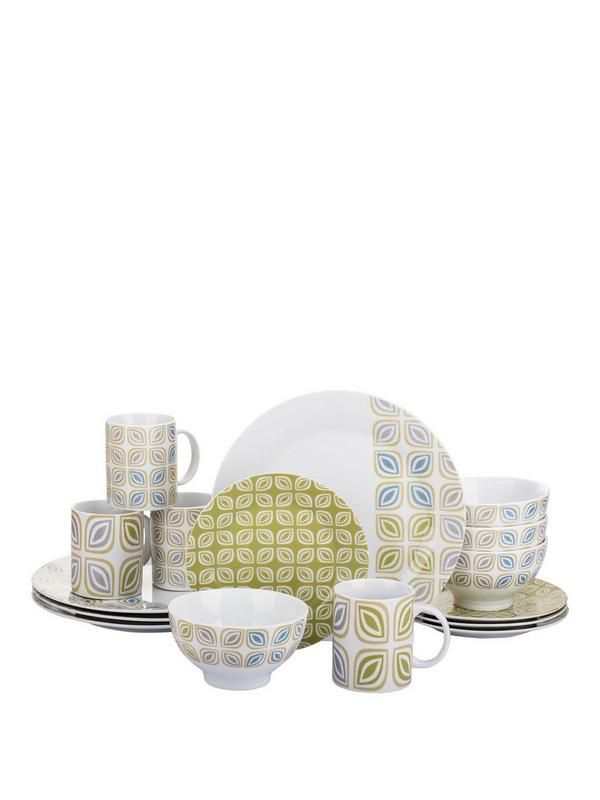 Leaf Stack 16-piece Dinner Set Bring contemporary style to the dining table with the eye-catching Leaf Stack 16-piece Dinner Set. Comprises 4 of each: - Dinner plates (26.5cm)- Side plates (19cm)- Deep bowls (14cm)- Mugs Against a crisp white base, each piece flaunts an abstract leaf design in a complementary grey, green and blue palette, while the side plates feature a bright green print for a vibrant pop of colour.Dishwasher Safe: YMicrowave Safe: Y