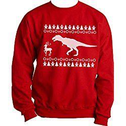 "Custom Kingdom Adult Mens ""Dinosaur Hunting Reindeer"" Christmas Crew Sweatshirt (Medium, Red)"
