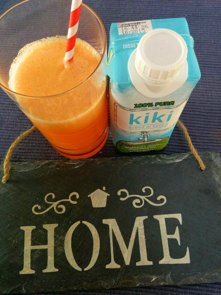 Smoothie with melon, apricot and KiKi coconut water. Healthy breakfast, @home.