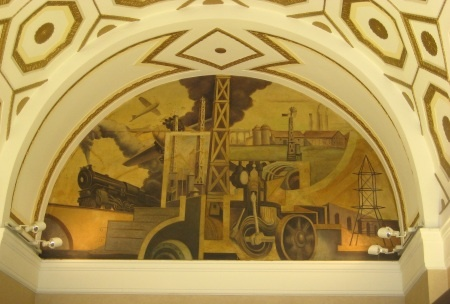 The grand murals adorning city office buildings