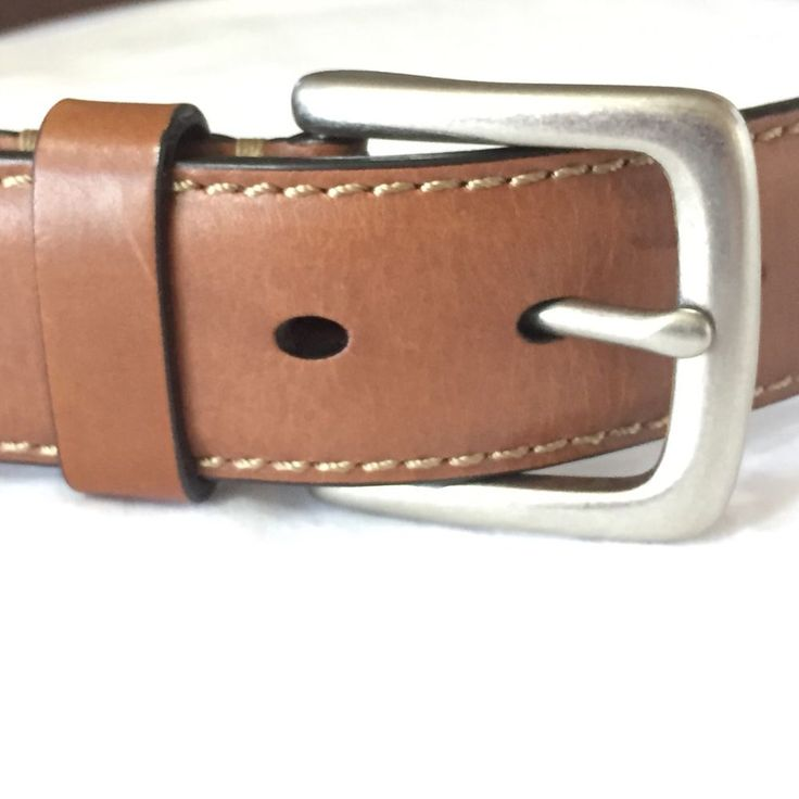 Fossil Mens Belt Brown Leather Silver Buckle Sz 90 / 36 41.5 Inch MB125520036 #Fossil
