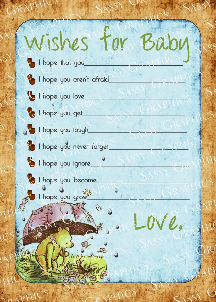 Winnie the Pooh Wishes for Baby Card. $10.00, via Etsy.