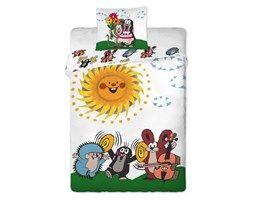 Jerry Fabrics Dziecięca bawełniana pościel Krecik z przyjaciółmi, 90 x 130 cm, 40 x 60 cm