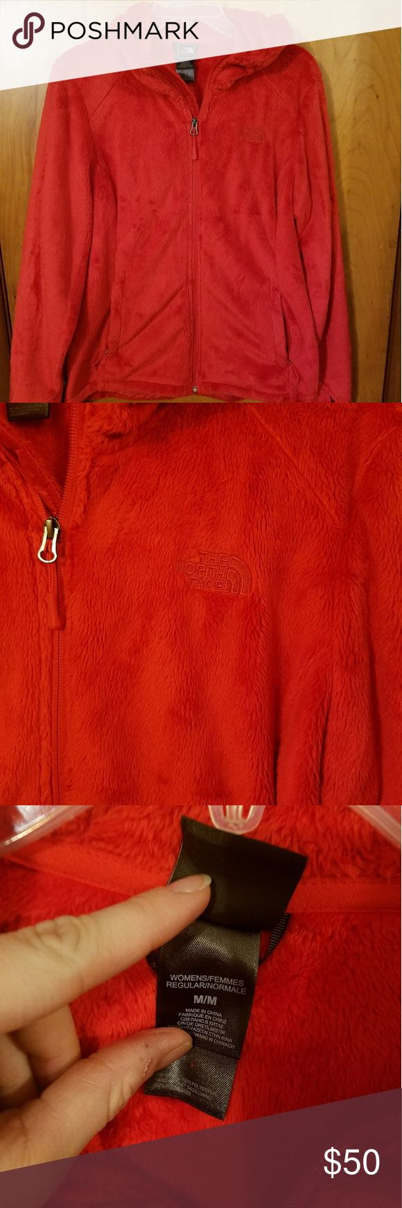 NWOT Red North Face Jacket Bright red furry jacket. Has a hood and 2 side pockets. Perfect condition! Size medium. NO LOWBALLS!! The North Face Jackets & Coats