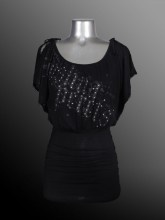 Ladies - Fashion Top - Rayon Jersey - Black - Joshua Perets - LS13-RA208-501