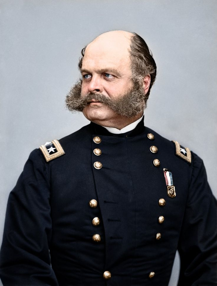 This is Major General Ambrose Burnside, the commander of the Union army of the Potomac. He is best known for leading the army to a crushing defeat at the Battle of Fredericksburg and for his distinctive facial hair, which later became known as the, you guessed it, sideburn.  Read more: http://www.businessinsider.com/amazing-american-civil-war-photos-turned-into-glorious-color-2013-10#ixzz2glVBfAm8