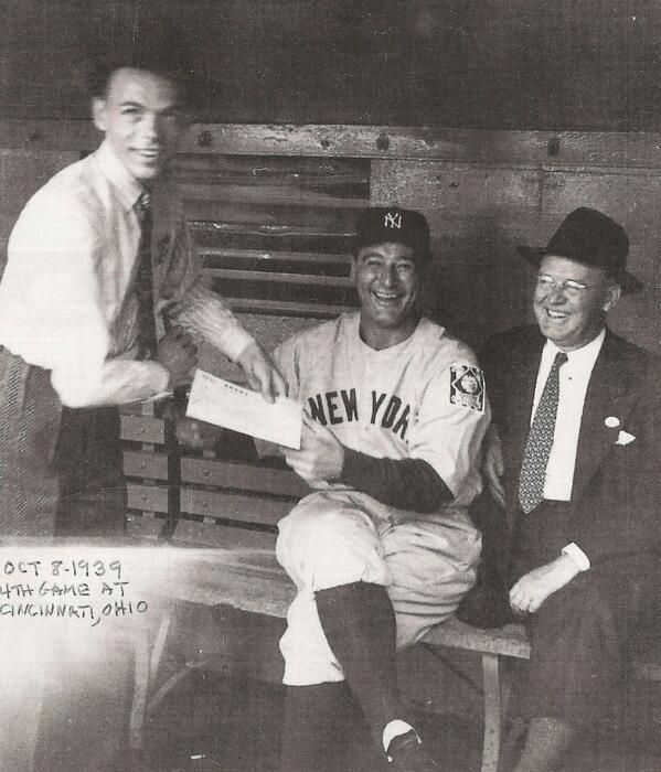 Frank Sinatra asking Lou Gehrig for an autograph during the 1939 World Series