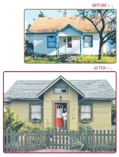 Bungalow makeover home exterior before after pinterest cottages porches and entryway for Exterior bungalow renovations before and after