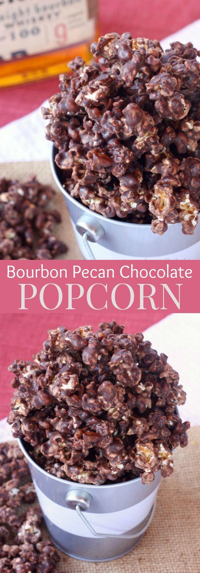 Bourbon Pecan Chocolate Popcorn - a decadent, chocolaty, boozy snack! | cupcakesandkalechips.com