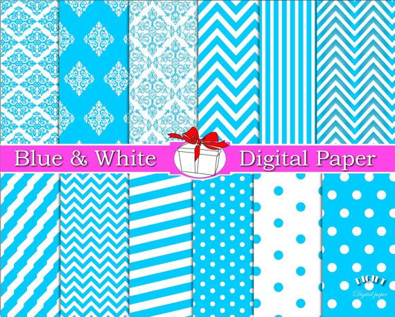Light Blue Digital Paper Blue Chevron Blue Polka Dot by DIGIFT