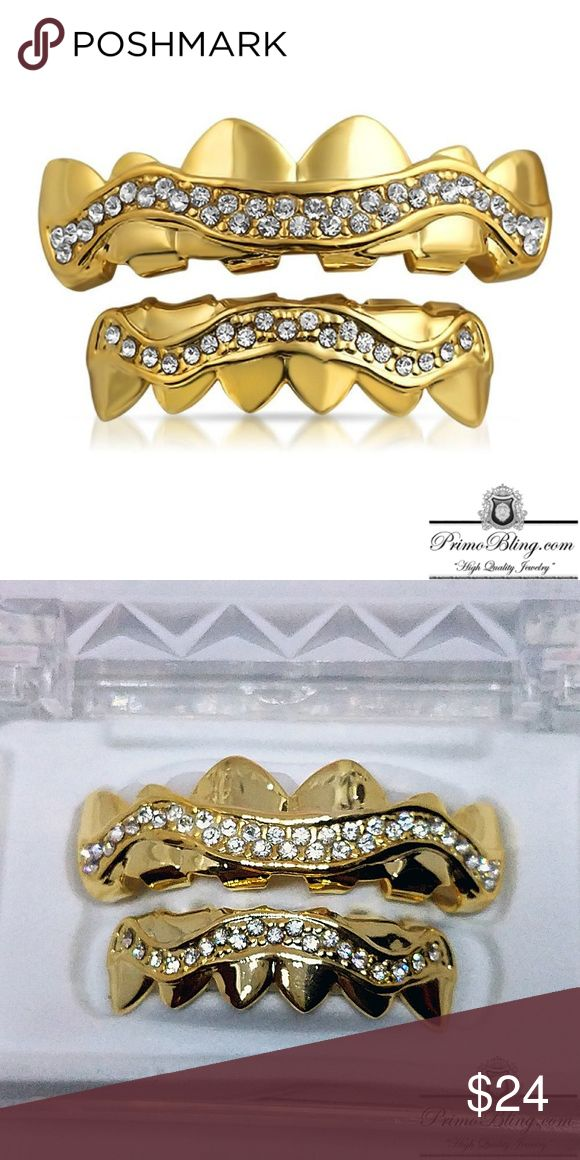 14k Gold Plated Iced Out Wavy Hip Hop Grillz Set Our Hip Hop Grillz are by far the Best on the market! Only the best materials are used to form our custom grillz they are 100% Safe and are built to last! Each Set comes with the molds needed to form to your teeth and an instruction manual! See why we do bling better! Shop now!!!  14k Gold Plated Lab Simulated CZ Stones One Size Fit all Molds Included primobling.com Accessories Jewelry