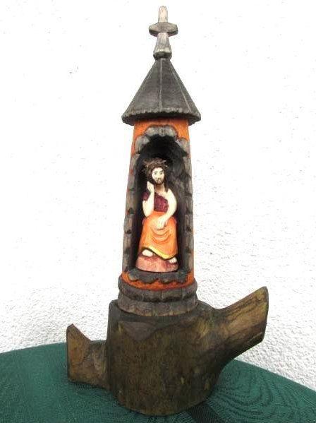 Wood Carved Shrine Handmade Wood Carving Sculpture Sacral Home Decor Carved Santos Jesus Figurine Folk Art from Poland OOAK