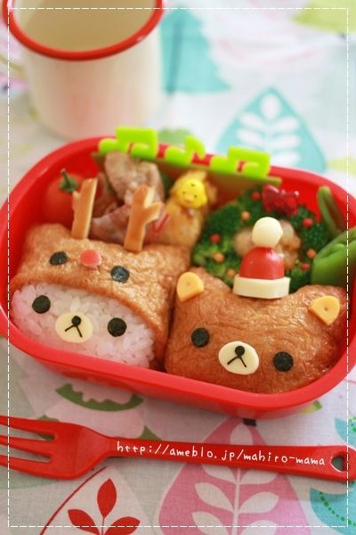 Rilakkuma Bear Inarizushi (Tofu Bag Sushi) Christmas Kyaraben Bento Lunch