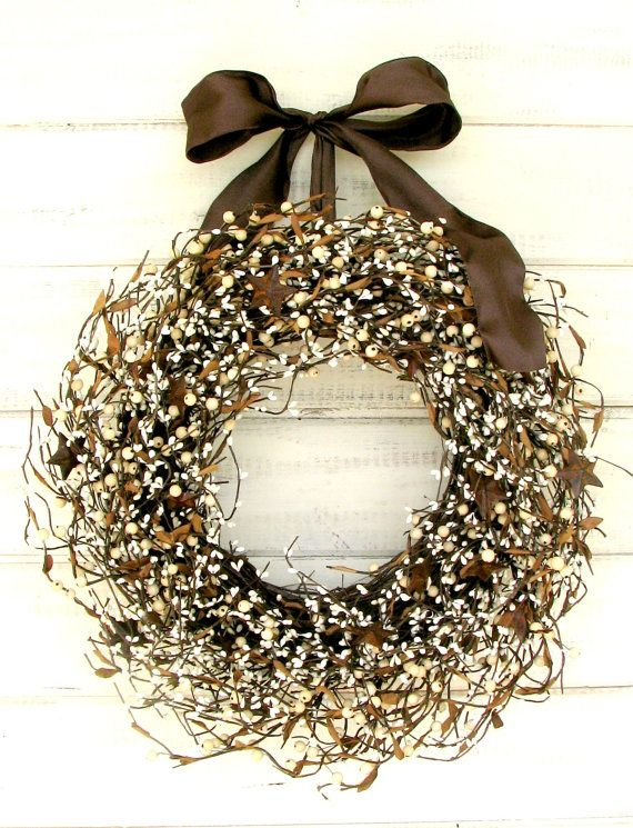 Rustic Brown Door Wreath Primitive Rusty Star Door Wreath Primitive Country Rustic Home