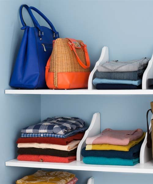 Store clothing on closet shelves rather than in a dresser: When you shove things in a drawer, you end up constantly wearing the stuff on top because you don't want to dig down to the bottom. On shelves, it's easier to keep track of what you have!