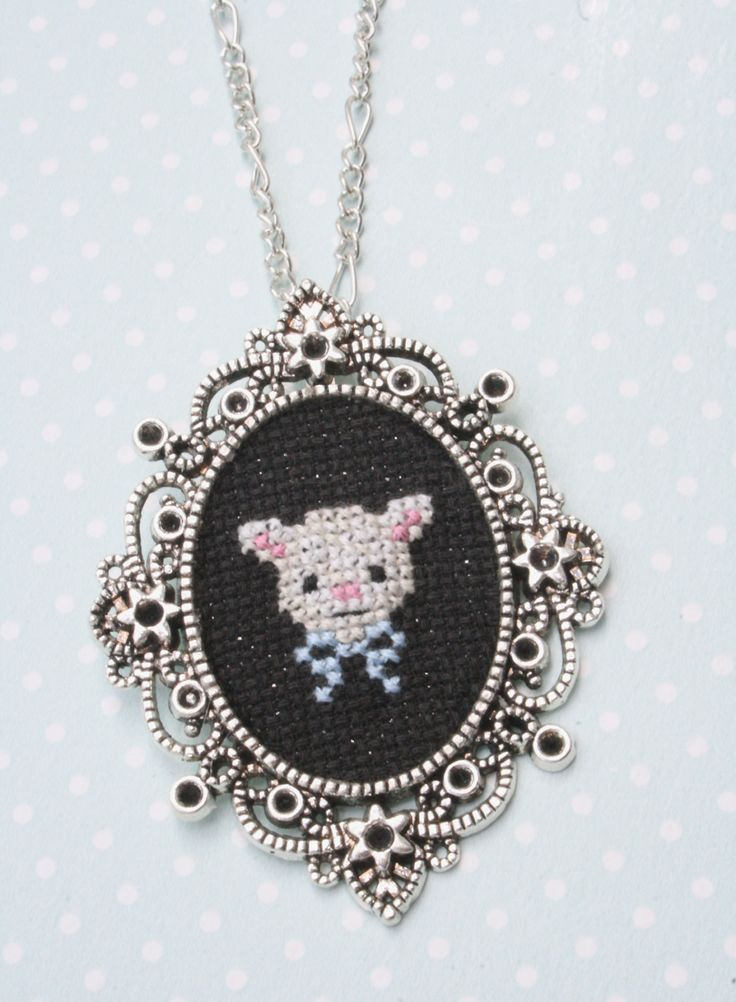 Cute lamb cross stitch necklace by otterlydesign on Etsy