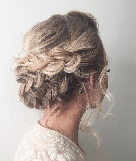 Beautiful braid updo wedding hairstyle for romantic brides - Bridal hairstyle. Get inspired by this low updo bridal hair gorgeous styles,hairstyle updo