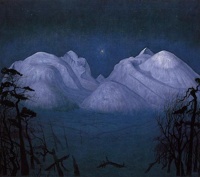 """Vinternatt i fjellene"" by Harald Sohlberg by David Carmack Lewis, via Flickr"