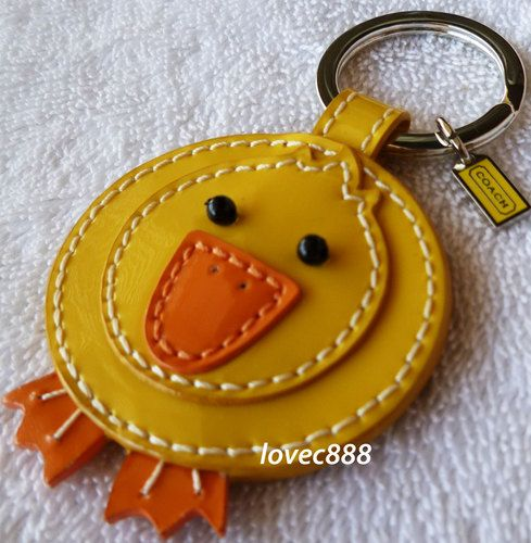 Coach Yellow Leather Duck Key Fob Chain