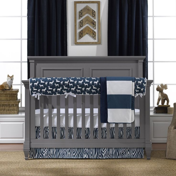 navy woodland bumperless crib bedding