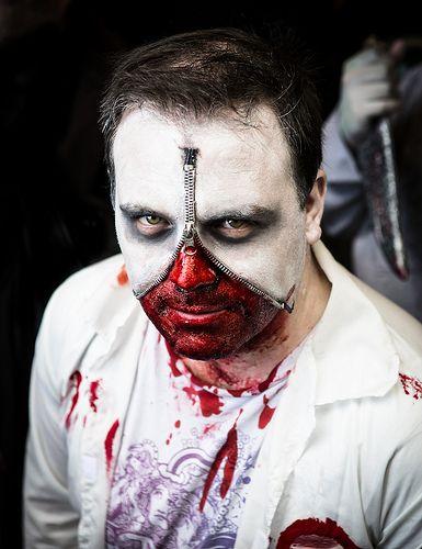 Real and Horrifying Zombie Makeup Tricks: Zipper Face Makeup