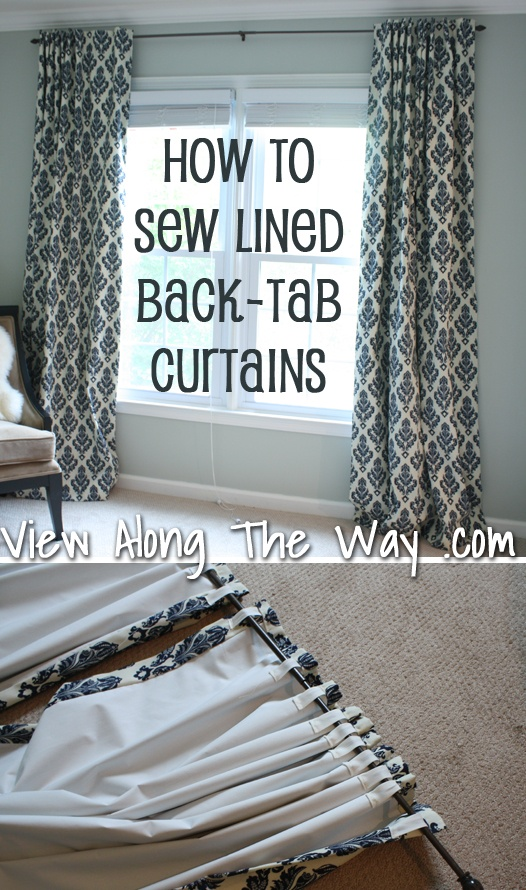 Tutorial: How to sew lined back-tab curtain panels.: Lined Back Tab, Back Tab Curtain, Sewing Curtain, Curtain Panels, Tutorial, Sew Lined, How To Sew Curtain, Sewing Machine