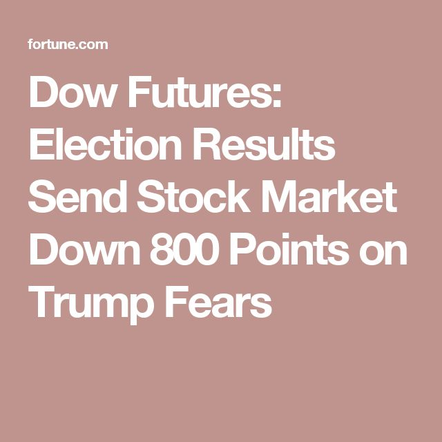 Already Making America Great Again! Dow Futures: Election Results Send Stock Market Down 800 Points on Trump Fears
