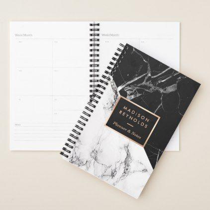 Modern Black White Marble Texture Designer Planner  $22.95  by CardHunter  - cyo customize personalize unique diy idea