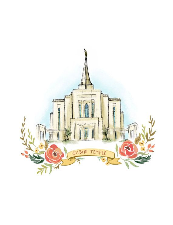 Gilbert Arizona Temple LDS Mormon Wedding gift by PacePaintings