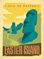 Chile: Easter Island - Our latest series of classic travel poster art is called the World Travel Poster Collection. We were inspired by vintage travel prints from the Golden Age of Poster Design (a glorious period spanning the late-1800s to the mid-1900s.) So we set out to create a collection of brand new international prints with a bold and adventurous feel.