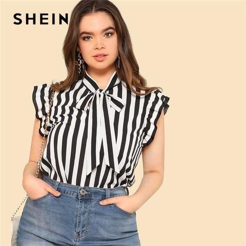 ac3a80436e0 SHEIN Black and White Striped Preppy Elegant Tie Neck Ruffle Women Tops and Blouses  Womens Plus