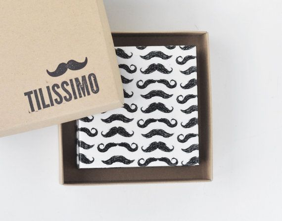 Gift for Father's Day! Mustache Coasters Ceramic Tile Drink Coasters Gift by Tilissimo